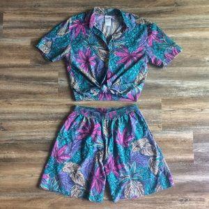 Touché LA • vtg tropical matching shorts set